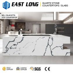 Cor de mármore piso artificial lado a bancada de pedra de quartzo para Design de cozinha