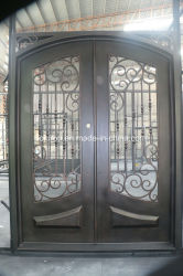 Sobrancelha dianteira da porta de entrada de aço do arco de segurança com vidro temperado