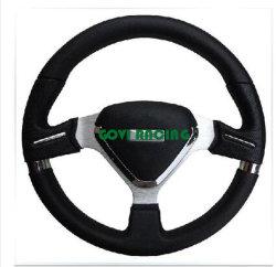 عجلة قيادة السيارة المصنوعة من الجلد الأسود مقاس 14 بوصة ماركة السيارة