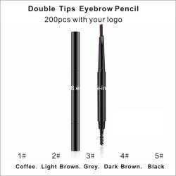 Personalizar o seu logotipo 2 em 1 Eye Brow Pen Dicas de dupla marca nenhuma ferramenta de maquiagem pessoais Marrom Escuro Café Private Label de cor preta à prova de Slim Lápis