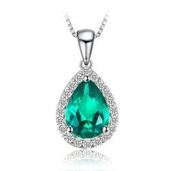 方法Nanoロシアの模倣されたエメラルドの吊り下げ式のネックレス925の純銀製の宝石類の女性のギフト