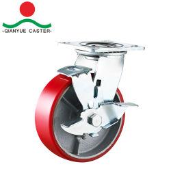 Vendre à chaud 8 pouces rouges sur le fer de PU Heavy Duty avec Roulettes de frein du côté des roues