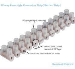 Striscia di connettori a 12 vie a due file tipo U in PE 3 A-125 A.