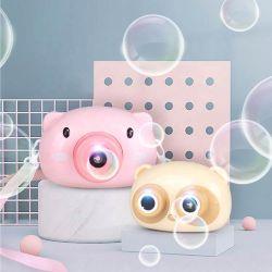 Bonitinha Rosa de plástico de suínos Electric Kids Câmara água e sabão soprando Maker bolha da máquina brinquedos