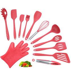 ツールのステンレス鋼のハンドルの台所用品のディナー・ウェアテーブルウェア耐熱性シリコーンの台所道具アクセサリを調理する赤