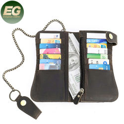 Emg6339 سلسلة الحبوب الكاملة Crossbody الرجل المرأة الحقيقية النحيفة الرجال محفظة حامل بطاقة الائتمان النسائية من الجلد