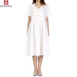 Bocal de V Retro Botão de mangas curtas vestidos Moda Feminina Vestuário de escritório