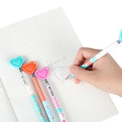 문구류 제품 창의적 신기한 선물 하트 모양 내구성 부드러운 리트라시블 클리커 멋진 플라스틱 볼 펜