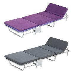 Cama plegable de metal de acero ajustables esponja un colchón de espuma blanda cama portátil