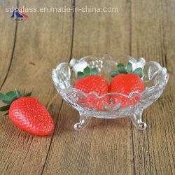 Patas bandeja redonda de vidrio grabado vidrio pequeño recipiente de la tuerca de caramelo