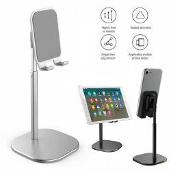Ángulo de la telescópica ajustable en altura Celular amable Soporte Soporte Soporte del teléfono de escritorio compatible con todos los teléfonos móviles