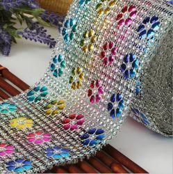 Rhinestone Malla Diamante de cristal de la cinta de opciones múltiples de envoltura de boda colores Bling en el patrón de flores