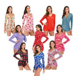 Venda quente no Verão de mulheres seda romper os padrões de conjuntos de Desgaste do Sono Sexy Onesie Bodycon pijamas