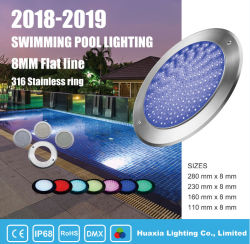 2020 Nouveau 18W ultra-léger de 8 mm monté sur un mur de lumière LED sous-marin de la piscine pour piscina