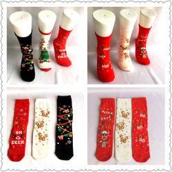 Forma alta doces de Natal engraçado Santa Natal Deer Árvore de Natal Dom Lurex Jacquard Algodão meias