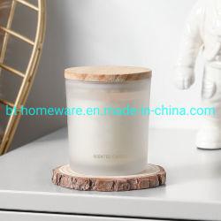 Custom 315ml/10 Oz alta cantidad de la Copa de Vela de vidrio esmerilado con madera de pino de la tapa de bambú tapa para hacer velas
