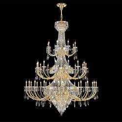Illuminazione Pendant del soffitto della lampada dell'hotel dell'ingresso della lampada della villa del salone di Kronleuchter del lampadario a bracci a cristallo dorato onorato di lusso della decorazione
