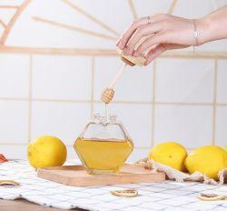 280 ml/380 ml/op maat gemaakte verzegelde zeshoekige fles honing/melk/drank/transparante glazen fles met deksel