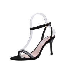 女性の夏の極度のハイヒールはセクシーな靴の快適なデザインに蹄鉄を打つ