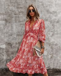 V Neck Casual Floral Printed Women Dress with Summer New Mode MIDI Casual Ladies jurken
