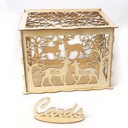 صناديق بطاقات زفاف خشبية عتيقة بصنديق DIY للهدايا حامل صندوق النقود لحفلات الزفاف الخشبية