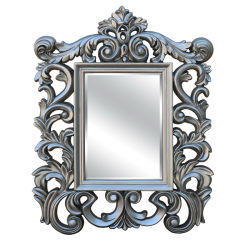 مرآة إطار PU مفروشة بأثاث منزلي فضي عتيق