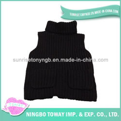 Tejidos de punto ropa de bebé Turtleneck Pullover negro muchachos Sweater Vest