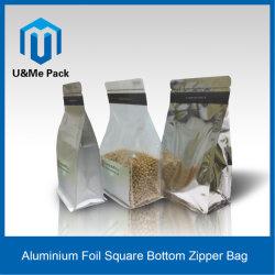 Quadratischer unterer Alumnium Folien-flache Unterseiten-Verpacken- der Lebensmittelreißverschluss-Beutel