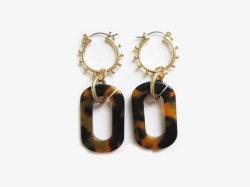 Nouveau Costume d'arrivée de la mode propre géométriques simples Earring feuille de plastique acrylique Feuille Feuille Feuille de polyéthylène d'acide acétique Leopard métal tortue d'impression Earring