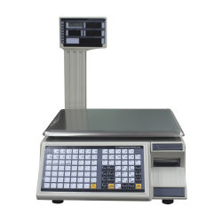 A impressão de códigos de barras de commodities Balança balança digital com impressora de etiquetas