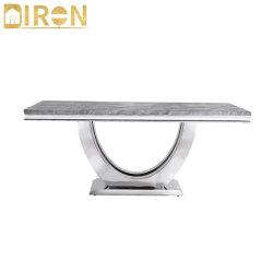Table à café de luxe de haute qualité de vie modernes en marbre de style Mobilier de salle Haut Table à manger en acier inoxydable