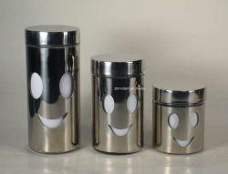 Hermético Conister de acero inoxidable con tapa de plástico