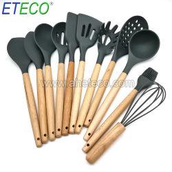 Espátula conjunto de los gadgets de cocina utensilios de cocina de silicona con mango de madera