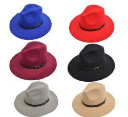 卸し売り広い縁のウールのフェルトの帽子のAudltの人の女性のウールのフェルトの帽子のための安いバックルのソフト帽の帽子