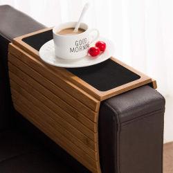 Sofá de bambu bandeja com tapete Non-Slip Bebida Coaster chávena