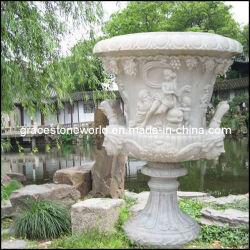 切り分けられた石造りプランター、庭の大理石の植木鉢、壷(GS-FL-004)