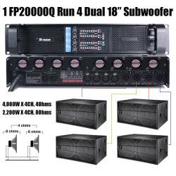 4 canaux Fp20000q Amplificateur de guitare basse ampli de puissance portable 5000W Amplificadores de Poder