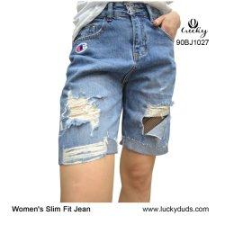 Schädigender Jean schließt Sommer-Denim zerrissene Hose-Jeans für Frauen kurz