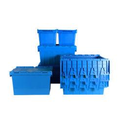 Contenitore per tote impilabile logistica in plastica per magazzino industriale con supporto per etichette