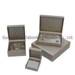 ギフトの木の宝石箱はシャンペン着色された革卸売を包んだ