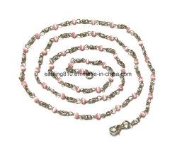 Handgemachtes Metallkettenlink mit rosafarbenem Katzenauge-Stein bördelt Halskette