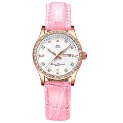 Elegantes señoras reloj de pulsera de moda personalizada con la fecha y la semana