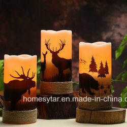 3pk afrikanisches Animal Design 6in LED Flameless Candle Light mit Hemp Rope für Christmas Decoration