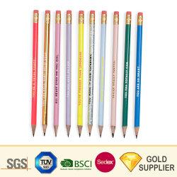 Personnalisé imprimé personnalisé Builder Construction Charpentier ronde perlite Non-Toxic rectangulaire d'affûtage de couleur noir avec la gomme de crayon de bois pour le bureau/l'école