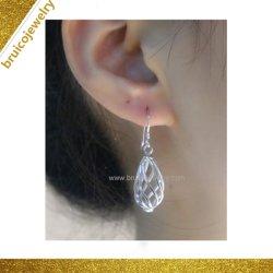 美しいHip Hop 925の純銀製の宝石類円形の整形ロジウム18K金の宝石類の低下イヤリング