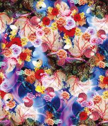 Tee-shirt floral imprimé numérique de gros de tissu en coton robe de vêtements pour dame