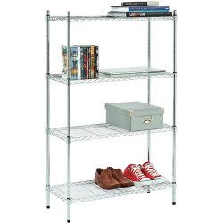 4 niveaux de style américain Light Duty métal chromé sur le fil de l'unité d'étagères ajustables avec les pieds de nivellement