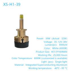 360 Degré 6000lm (réelles) feux à LED 6 côtés de l'éclairage 39W pour voiture, camion, motocyclette, accessoire de voiture, la lumière LED, X5-H1-39