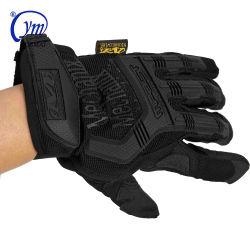 Goma de color negro con dedos de la policía de combate táctico militar del ejército de los Guantes