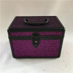 Châssis en aluminium noir avec paillettes violet coffret à bijoux en cuir Hxw-006